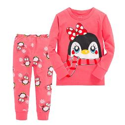 Autumn Winter Warm Baby Kids Girls Christmas Pajama Sets Two
