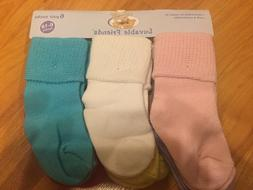 "B18 NEW Luvable Friends Baby GIRL BOY  ""Texture Cuff"" 6-Pack"