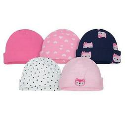 Gerber Baby and Infant Girl 5-Pack Caps, Pink and Blue Fox,