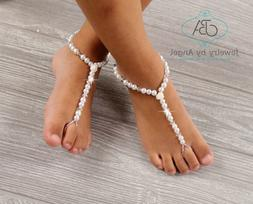 Baby Barefoot Sandals Flower Girl Barefoot Sandals Pearl Foo