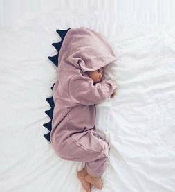 Emmababy Baby Boy Girl 3D Dinosaur Costume Solid pink gray R