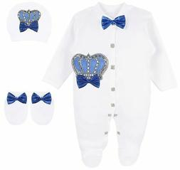 Lilax Baby Boy Newborn Crown Jewels Layette 3 Piece Gift Set