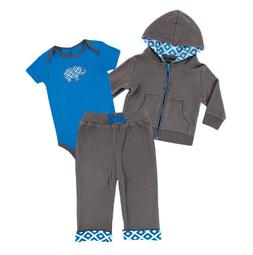 Yoga Sprout Baby-Boys 3 Piece Turtle Hoodie Bodysuit and Pan