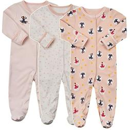 Baby Footed Pajamas with Mittens - 3 Packs Baby Girls Footie