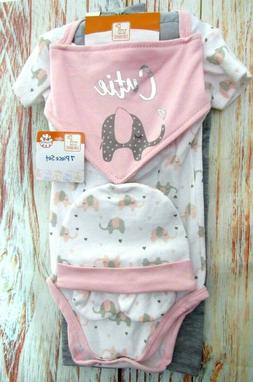 Swiggles Baby Girl 0-3 Months 7 Piece Gift Set Outfit Elepha