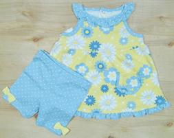 Baby Girl 12 Month Blue/Yellow Floral Shirt & Shorts Outfit