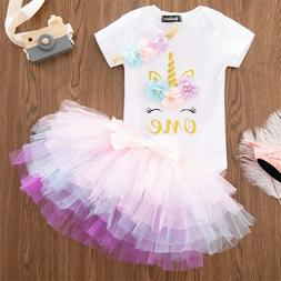 Baby Girl 1st Birthday Dress Outfits Sets Princess Infant Un