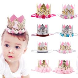 Baby Girl 1st Birthday Party Hat Flower Princess Crown Decor