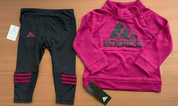 Adidas Baby Girl 2pc Set Plum Long Sleeve Pullover & Black L