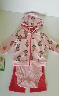 Baby Girl 3 Piece Pink Outfit Hoodie Pants Bodysuit NWT Cart