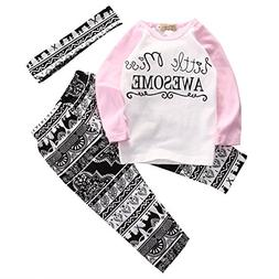 Baby Girl 3pcs Outfit Set Letter Print Long Sleeve Top+Retro