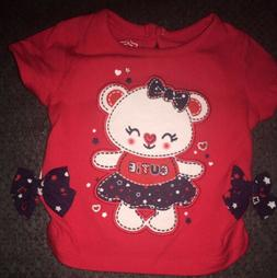 Baby Girl 4th Of July Shirt CUTIE With Bear Hearts Stars Bow