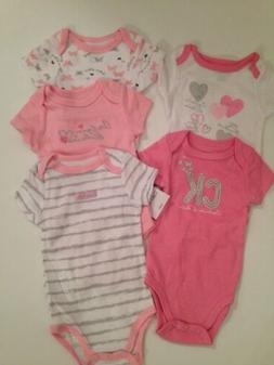 Calvin Klein Baby Girl 5 Bodysuits Rompers Set Pink Size 3 6