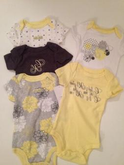 Calvin Klein Baby Girl 5 Bodysuits Rompers Set Yellow Size 3