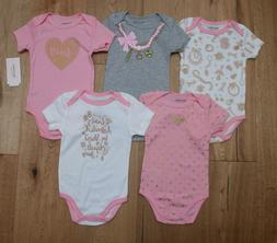 Juicy Couture Baby Girl 5 Piece Bodysuit Set ~ Pink, Gray, W