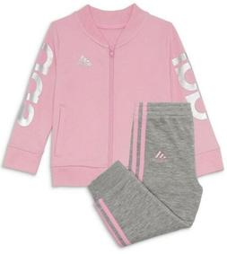 Adidas Baby Girl 6 Month Tracksuit Outfit Set Pink/gray