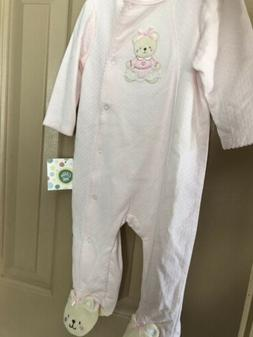Baby Girl 6 Mos Pink Footies One Piece Button Jumpsuit