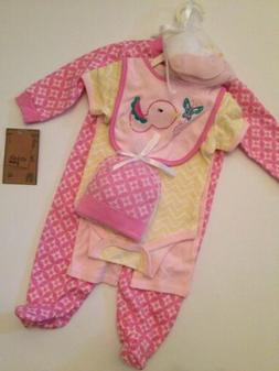Chick Pea Baby Girl 6 Piece Layette Gift Set Size 3 6 Months