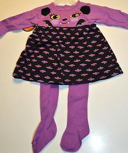Baby Girl Bat Two Piece Outfit Purple & Black Halloween Set