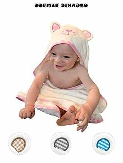 Baby Girl Bath Towels and Washcloths Set - Bamboo Hooded Tow