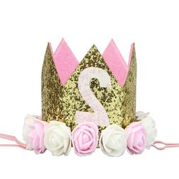 Baby Girl Birthday Party Supplies Flower Hat Princess Glitte