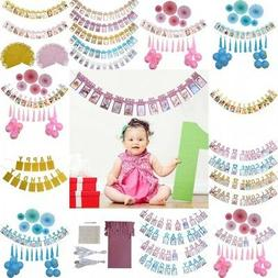 Baby Girl Boy 12-Months Photo Frame Banner Garland for First