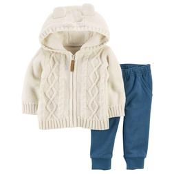 Baby Girl Carter's Cable-Knit Hooded Cardigan Sweater Jacket