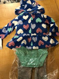 Baby GIRL Carter's HEARTS Microfleece Jacket, Bodysuit & Pan