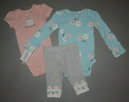 Baby girl clothes, 9 months, Carter's 3piece set/New Arrival