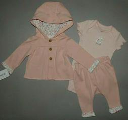 Baby girl clothes, 3 months, Carter's 3 piece Cardigan set/S
