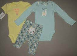 Baby girl clothes, 9 months, Carter's 3 piece set/  SEE DETA