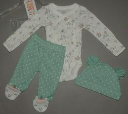 Baby girl clothes, Preemie, Carter's 3 piece set