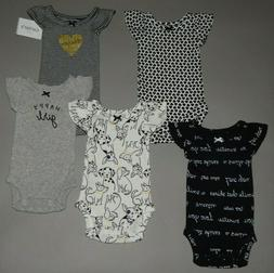 Baby girl clothes, Preemie, Carter's 5 flutter sleeve bodysu
