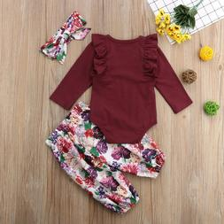 Baby Girl Clothes Set Fly Sleeve Romper Floral Pant Headband