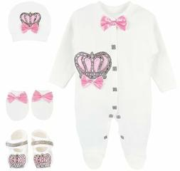 Lilax Baby Girl Crown Jewels Layette 4 Piece Gift Set 0-3 Mo