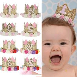Baby Girl Crown Letter Shiny Sequins Flower Headwear Birthda