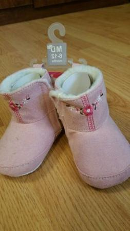 Luvable Friends Baby Girl Embroidered Suede Boots 6-12m