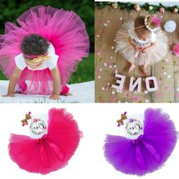 Baby Girl First 1st Birthday Outfit Tutu Dress Skirt Cake Sm