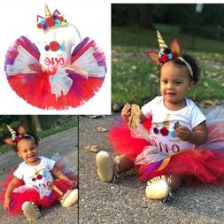 Baby Girl First 1st Birthday Outfit Unicorn Party Dress Cake