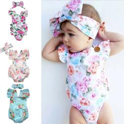 Baby Girl Floral Romper Newborn Headband Infant Jumpsuit Bod