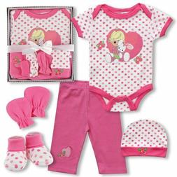 Precious Moments Baby Girl Gift Set 5 Pieces NIB Bodysuit Pa