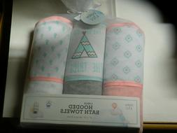 """Baby Kiss Baby Girl Hooded Bath Towels 3 Pack Size 27"""" X 30"""""""