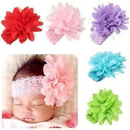 Baby Girl Infant Flower Headbands Lace Bow Hairband Flower H