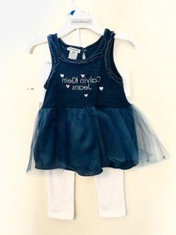 Baby Girl Calvin Klein Jeans 2-piece Navy Blue Tutu outfit N