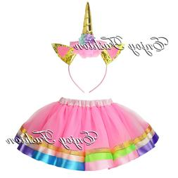 Baby Girl Kids Hot Pink TuTu Skirt Unicorn Headband Party su