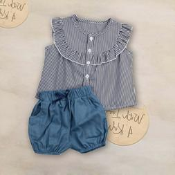 Baby Girl Kids Summer Toddler Outfits Clothes T-shirt Tops+S