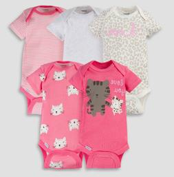 Baby Girl Lot of 5 Onesies Kitty Cat Love You Pink NWT Gerbe