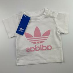 BABY GIRL: Adidas Originals Trefoil Tee, Pink & White - Size
