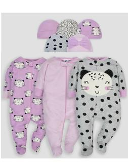 Gerber Baby Girl Pajama Sleep N Plays With Matching Hats 0-3