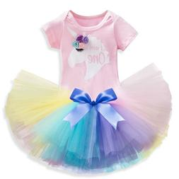 Baby Girl Pink 1st Birthday Unicorn Party Rainbow Dress Outf